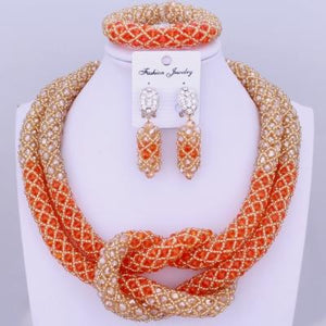 Chunky Women Royal African Beads Set, Color - Orange/Gold