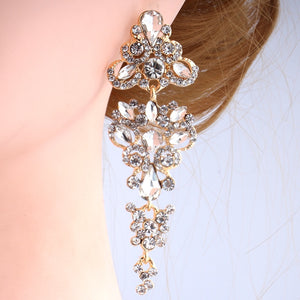 Gold/Silver Crystal Rhinestone Bridal Earrings