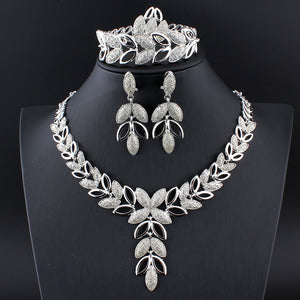 Crystal Heart Fashion Bridal African Gold/Silver Color Necklace + Earrings + Bracelet Women Party Sets