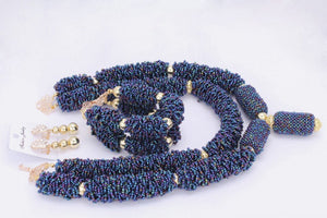 African Dark Blue Dubai-style Jewelry Choker Set