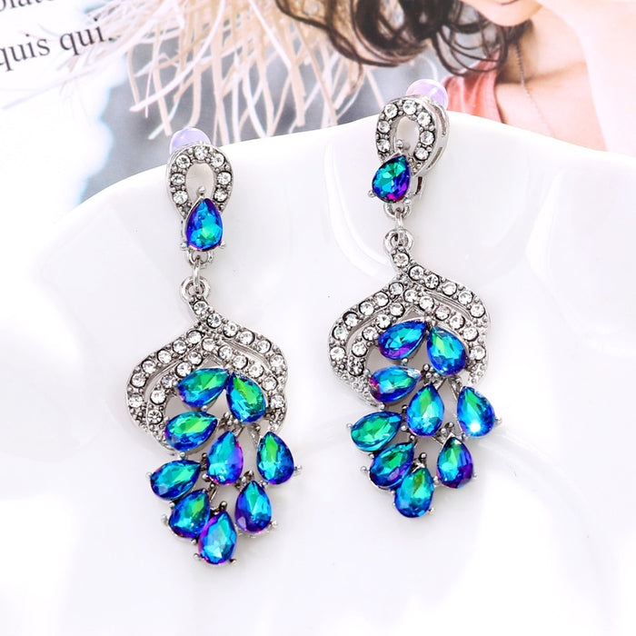 Grape bunch crystal earring