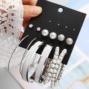 TiFranca 6-pack Studs and Hoops Earrings