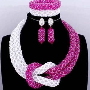 Chunky Women Royal African Beads Set, Color - White/Pink