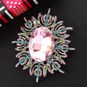 Antique Crystal Flower Brooch