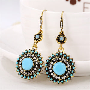 Ethnic round crystal earrings