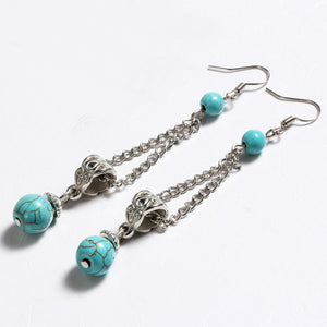 Tibetan Silver Blue drop earring