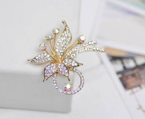 Colorful Crystal Flower Brooch