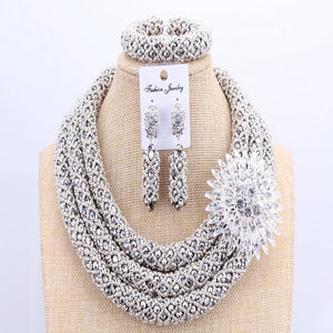 3 Layers Owanbe African Silver Crystal Beads Jewelry Sets