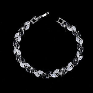 Cubic Zirconia Jewelry Silver Color Leaf Charm Bracelet