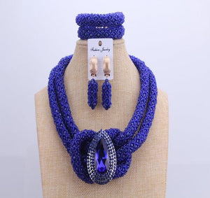 Chunky Women Royal African Beads Set, Color - Blue Crystal