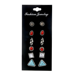 TiFranca Mixed 6-pack Rhinestone Stud Earrings
