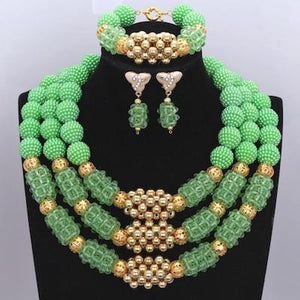 Owalukare Royal Green Crystal Beads Set