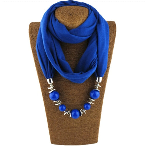 Ethnic polyester scarf bead necklace