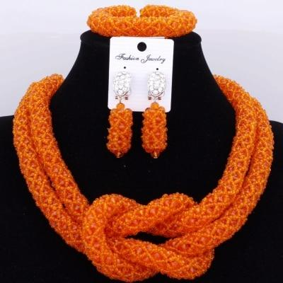 Chunky Women Royal African Beads Set, Color - Orange