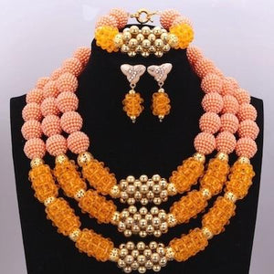 Owalukare Royal Orange Crystal Beads Set