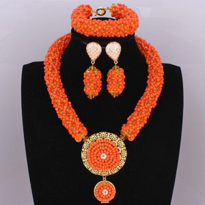 Dubai-style Orange Beads Set
