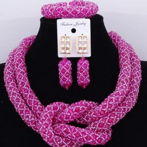 Chunky Women Royal African Beads Set, Color - Pink