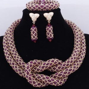 Chunky Women Royal African Beads Set, Color - Purple