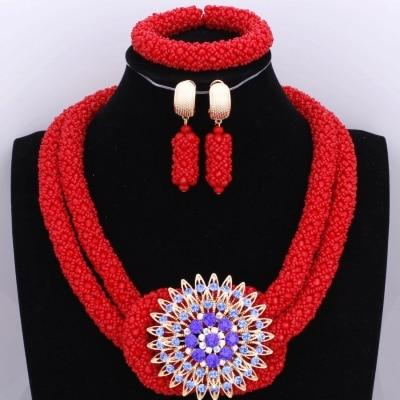 Chunky Women Royal African Beads Set, Color - Red