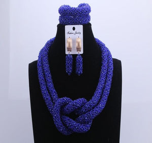 Chunky Women Royal African Beads Set, Color - Royal Blue