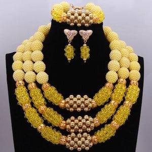 Owalukare Royal Yellow Crystal Beads Set