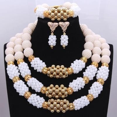 Owalukare Royal White Crystal Beads Set