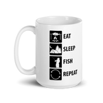 """Eat. Sleep.Fish. Repeat."" - Glossy Mug"