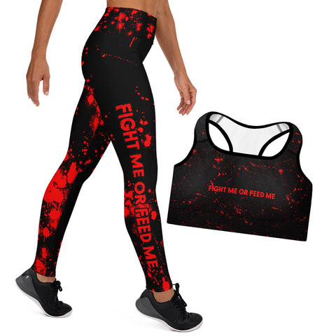 """Fight Me or Feed Me"" Sports Bra and Athletic Leggings  Combo Set"