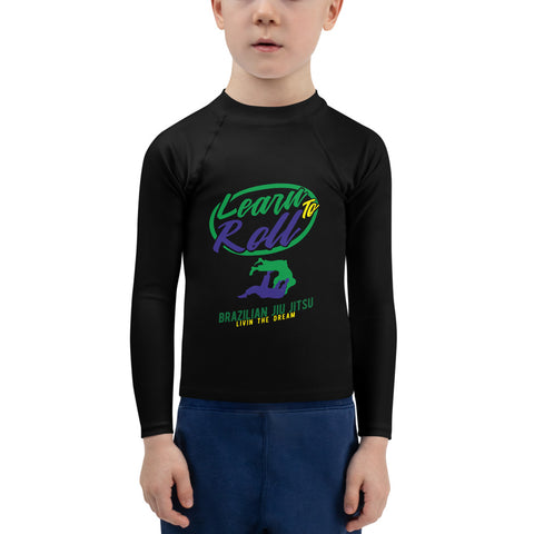 """LEARN TO ROLL ""Kids Rash Guard"