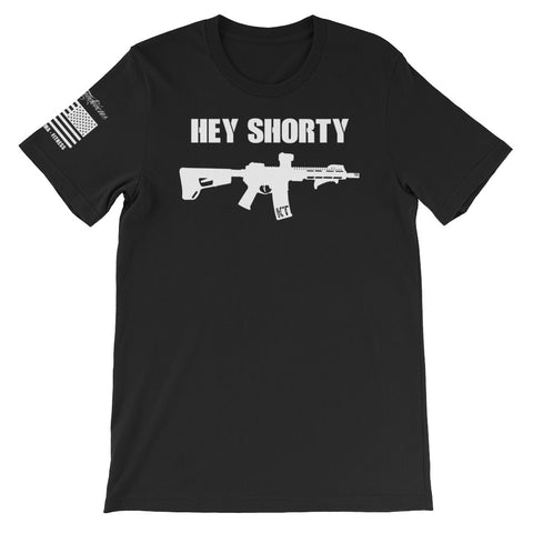 """Hey Shorty"" White Graphic - Short-Sleeve Unisex T-Shirt"