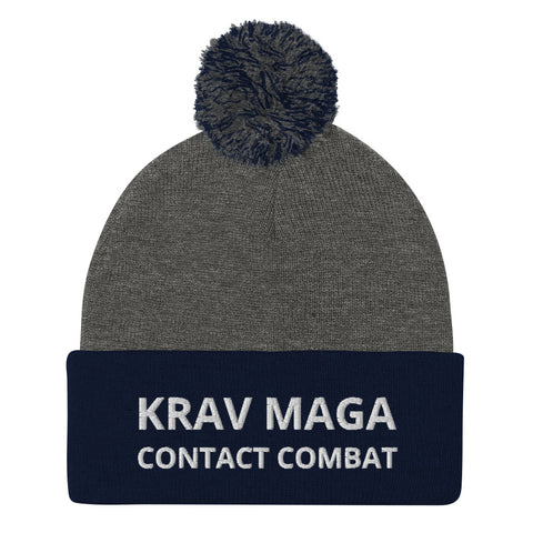 Krav Maga Contact Combat -  Embroidered Pom-Pom Beanie