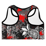 Roses and Blood Splatter MMA Sports Bra
