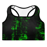 """Green and Black"" - Padded Sports Bra"