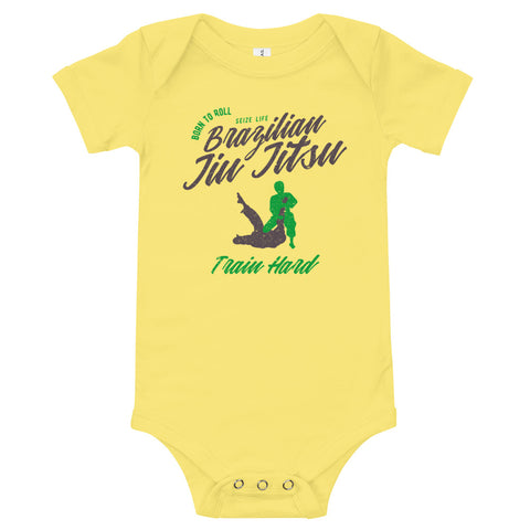 """BRAZILIAN JIU JITSU TRAIN HARD"" BABY BODYSUIT"