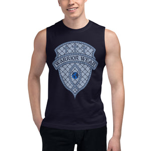 Men's Sleeveless Shirt- THERE'S FREEDOM IN SURRENDER - Navy / S