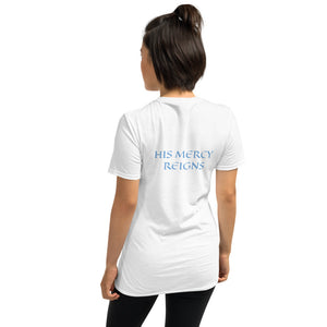 Women's T-Shirt Short-Sleeve- HIS MERCY REIGNS - White / S