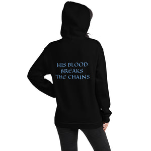 Women's Hoodie- HIS BLOOD BREAKS THE CHAINS - Black / S