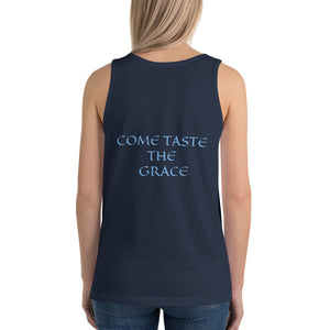 Women's Sleeveless T-Shirt- COME TASTE THE GRACE - Navy / XS