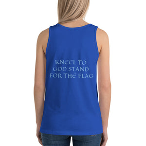 Women's Sleeveless T-Shirt- KNEEL TO GOD STAND FOR THE FLAG - True Royal / XS