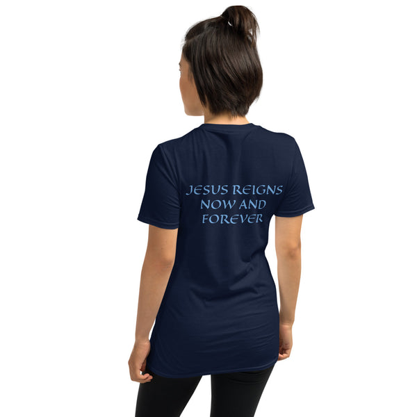 Women's T-Shirt Short-Sleeve- JESUS REIGNS NOW AND FOREVER - Navy / S