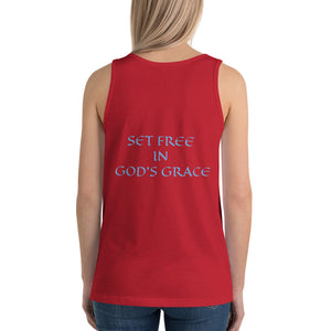 Women's Sleeveless T-Shirt- SET FREE IN GOD'S GRACE - Red / XS