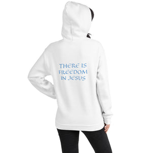 Women's Hoodie- THERE IS FREEDOM IN JESUS - White / S