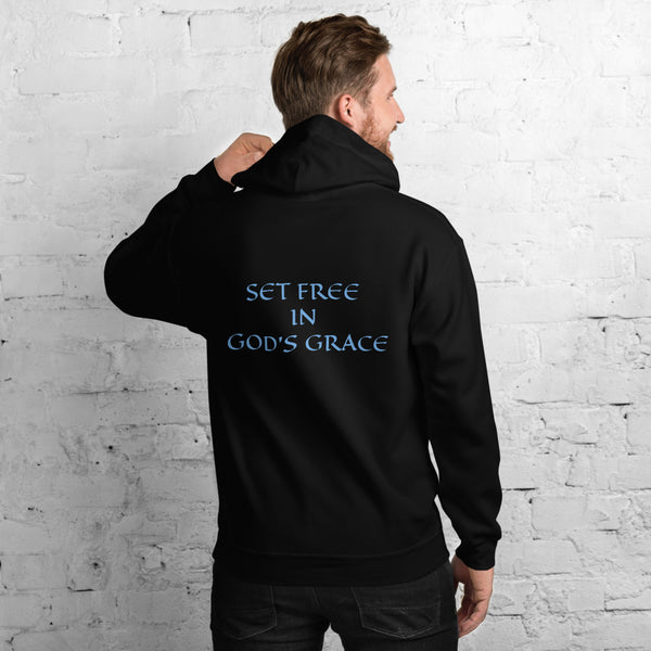 Men's Hoodie- SET FREE IN GOD'S GRACE - Black / S