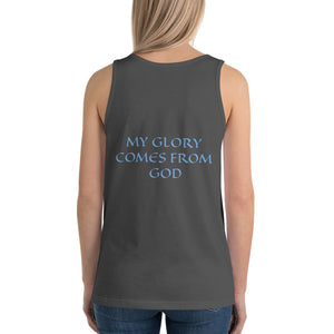Women's Sleeveless T-Shirt- MY GLORY COMES FROM GOD - Asphalt / XS