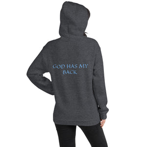 Women's Hoodie- GOD HAS MY BACK - Dark Heather / S