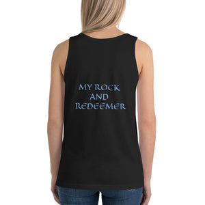 Women's Sleeveless T-Shirt- MY ROCK AND REDEEMER - Black / XS