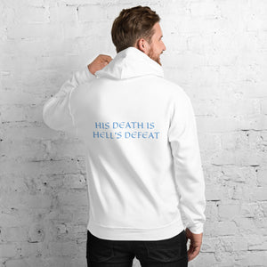 Men's Hoodie- HIS DEATH IS HELL'S DEFEAT - White / S
