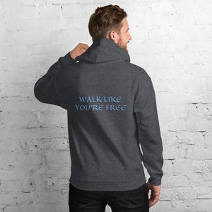 Men's Hoodie- WALK LIKE YOU'RE FREE - Dark Heather / S