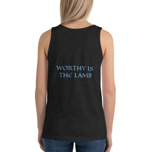 Women's Sleeveless T-Shirt- WORTHY IS THE LAMB - Charcoal-black Triblend / XS