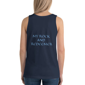 Women's Sleeveless T-Shirt- MY ROCK AND REDEEMER - Navy / XS